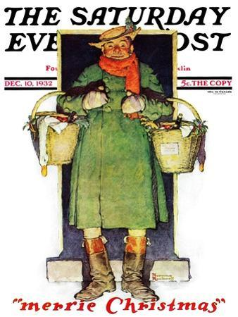 """Merrie Christmas"" Saturday Evening Post Cover, December 10,1932 by Norman Rockwell"