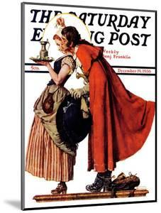 """""""Mistletoe Kiss"""" or """"Feast for a Traveler"""" Saturday Evening Post Cover, December 19,1936 by Norman Rockwell"""