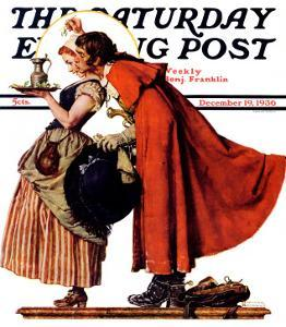 """Mistletoe Kiss"" or ""Feast for a Traveler"" Saturday Evening Post Cover, December 19,1936 by Norman Rockwell"