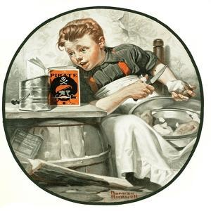 """Mom's Helper"" or ""Peeling Potatoes"", January 29,1921 by Norman Rockwell"