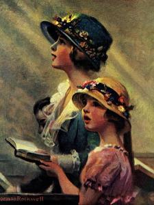 Mother and Daughter Singing in Church by Norman Rockwell