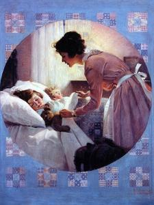 Mother Tucking Children into Bed by Norman Rockwell