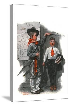 """Necessary Height"", June 16,1917 by Norman Rockwell"