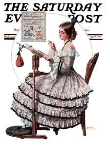 """""""Needlepoint"""" Saturday Evening Post Cover, March 1,1924 by Norman Rockwell"""