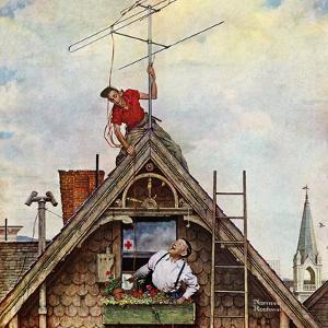 """New T.V. Set"", November 5,1949 by Norman Rockwell"