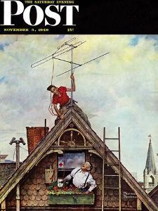"""""""New T.V. Set"""" Saturday Evening Post Cover, November 5,1949 by Norman Rockwell"""