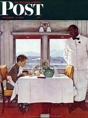 """""""New York Central Diner"""" Saturday Evening Post Cover, December 7,1946"""