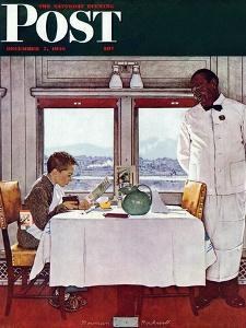 """New York Central Diner"" Saturday Evening Post Cover, December 7,1946 by Norman Rockwell"
