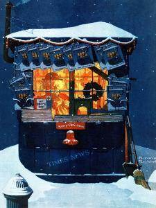 """Newsstand in the Snow"", December 20,1941 by Norman Rockwell"