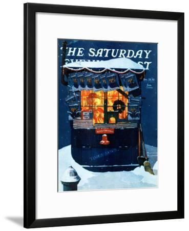 """""""Newsstand in the Snow"""" Saturday Evening Post Cover, December 20,1941"""