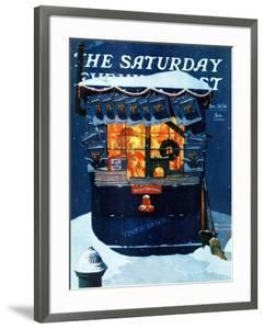 """""""Newsstand in the Snow"""" Saturday Evening Post Cover, December 20,1941 by Norman Rockwell"""