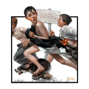 """""""No Swimming"""", June 4,1921 by Norman Rockwell"""