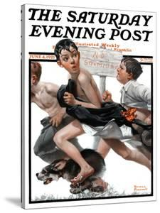 """No Swimming"" Saturday Evening Post Cover, June 4,1921 by Norman Rockwell"