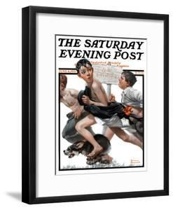 """""""No Swimming"""" Saturday Evening Post Cover, June 4,1921 by Norman Rockwell"""
