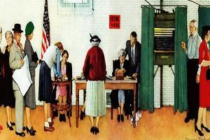 """Norman Rockwell Paints America at the Polls"", November 4,1944 by Norman Rockwell"