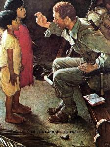 O'er the Land of the Free (or Soldier with Two Children) by Norman Rockwell