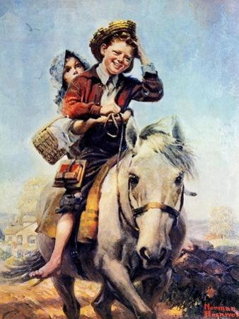 Off to School (or Boy and Girl on Horse) by Norman Rockwell