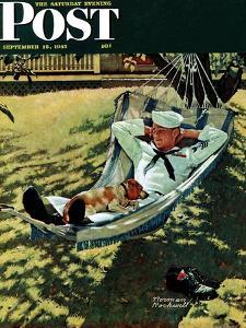 """""""On Leave"""" Saturday Evening Post Cover, September 15,1945 by Norman Rockwell"""