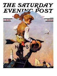 """""""On Top of the World"""" Saturday Evening Post Cover, October 20,1934 by Norman Rockwell"""