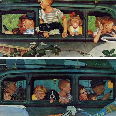 """Outing"" or ""Coming and Going"", August 30,1947 by Norman Rockwell"