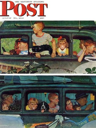 """""""Outing"""" or """"Coming and Going"""" Saturday Evening Post Cover, August 30,1947"""