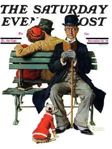 """""""Overheard Lovers"""" (man on park bench) Saturday Evening Post Cover, November 21,1936 by Norman Rockwell"""