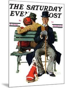 """Overheard Lovers"" (man on park bench) Saturday Evening Post Cover, November 21,1936 by Norman Rockwell"