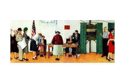 """""""Norman Rockwell Paints America at the Polls"""", November 4,1944-Norman Rockwell-Giclee Print"""