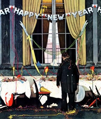 """Party's Over"" or ""Happy New Year"", December 29,1945 by Norman Rockwell"