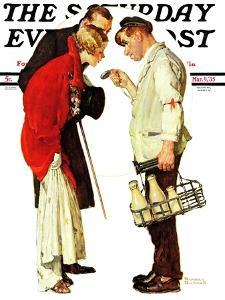 """Partygoers"" Saturday Evening Post Cover, March 9,1935 by Norman Rockwell"
