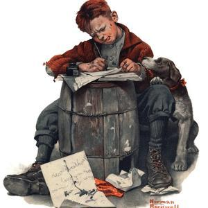 """""""Pen Pals"""", January 17,1920 by Norman Rockwell"""