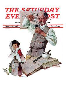 """""""Pharmacist"""" Saturday Evening Post Cover, March 18,1939 by Norman Rockwell"""