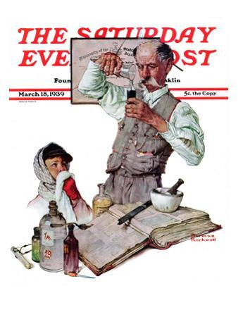 """Pharmacist"" Saturday Evening Post Cover, March 18,1939 by Norman Rockwell"
