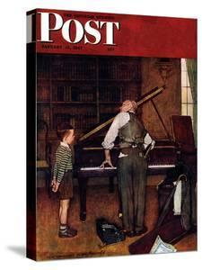 """""""Piano Tuner"""" Saturday Evening Post Cover, January 11,1947 by Norman Rockwell"""