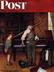 """Piano Tuner"" Saturday Evening Post Cover, January 11,1947 by Norman Rockwell"