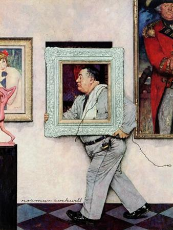 """""""Picture Hanger"""" or """"Museum Worker"""", March 2,1946 by Norman Rockwell"""