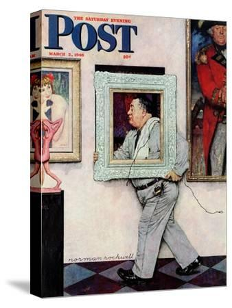"""""""Picture Hanger"""" or """"Museum Worker"""" Saturday Evening Post Cover, March 2,1946"""