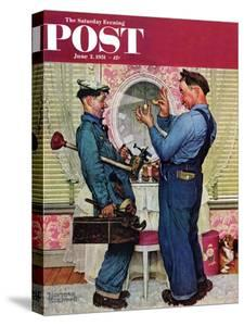 """""""Plumbers"""" Saturday Evening Post Cover, June 2,1951 by Norman Rockwell"""