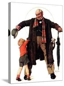 """""""Puppy in the Pocket"""" or """"The Gift"""", January 25,1936 by Norman Rockwell"""