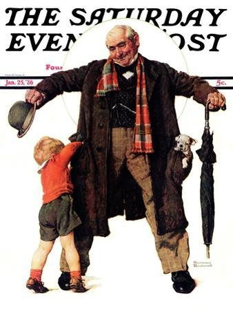 """Puppy in the Pocket"" or ""The Gift"" Saturday Evening Post Cover, January 25,1936 by Norman Rockwell"