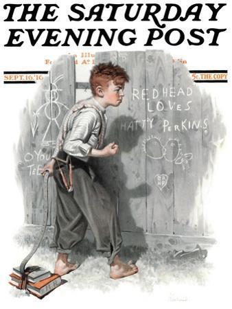 """Redhead Loves Hatti"" Saturday Evening Post Cover, September 16,1916"