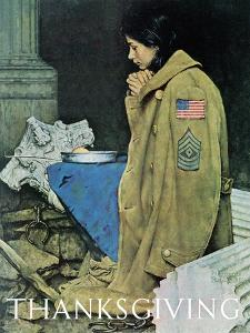 """""""Refugee Thanksgiving"""", November 27,1943 by Norman Rockwell"""