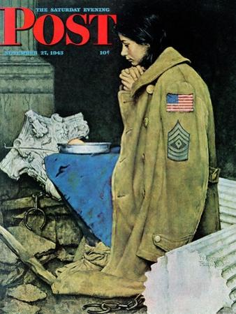 """""""Refugee Thanksgiving"""" Saturday Evening Post Cover, November 27,1943"""