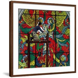 """""""Repairing Stained Glass"""", April 16,1960 by Norman Rockwell"""