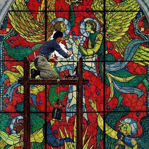 """Repairing Stained Glass"", April 16,1960 by Norman Rockwell"