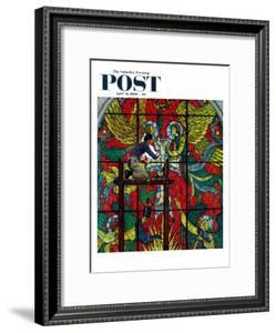"""""""Repairing Stained Glass"""" Saturday Evening Post Cover, April 16,1960 by Norman Rockwell"""