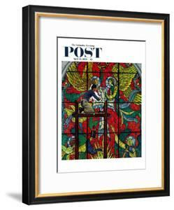 """Repairing Stained Glass"" Saturday Evening Post Cover, April 16,1960 by Norman Rockwell"