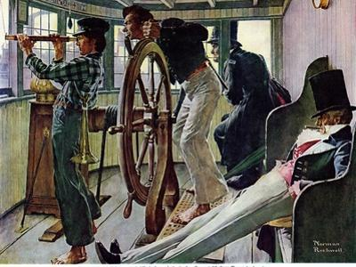 """River Pilot"", September 21,1940 by Norman Rockwell"