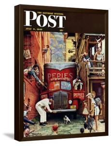 """Road Block"" Saturday Evening Post Cover, July 9,1949 by Norman Rockwell"