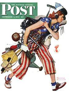 """""""Rosie to the Rescue"""" Saturday Evening Post Cover, September 4,1943 by Norman Rockwell"""